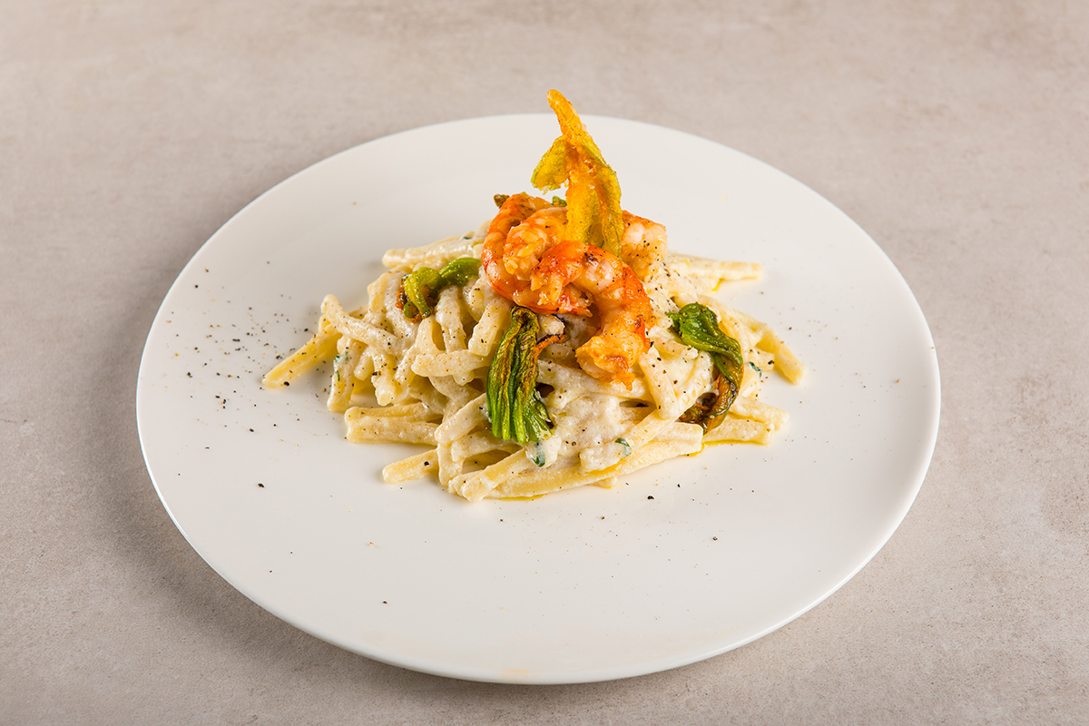 """Pasta Gentile"" Thick and Short Linguine with King Prawn, Courgette Flower, Buffalo Ricotta, Parmigiano Reggiano"
