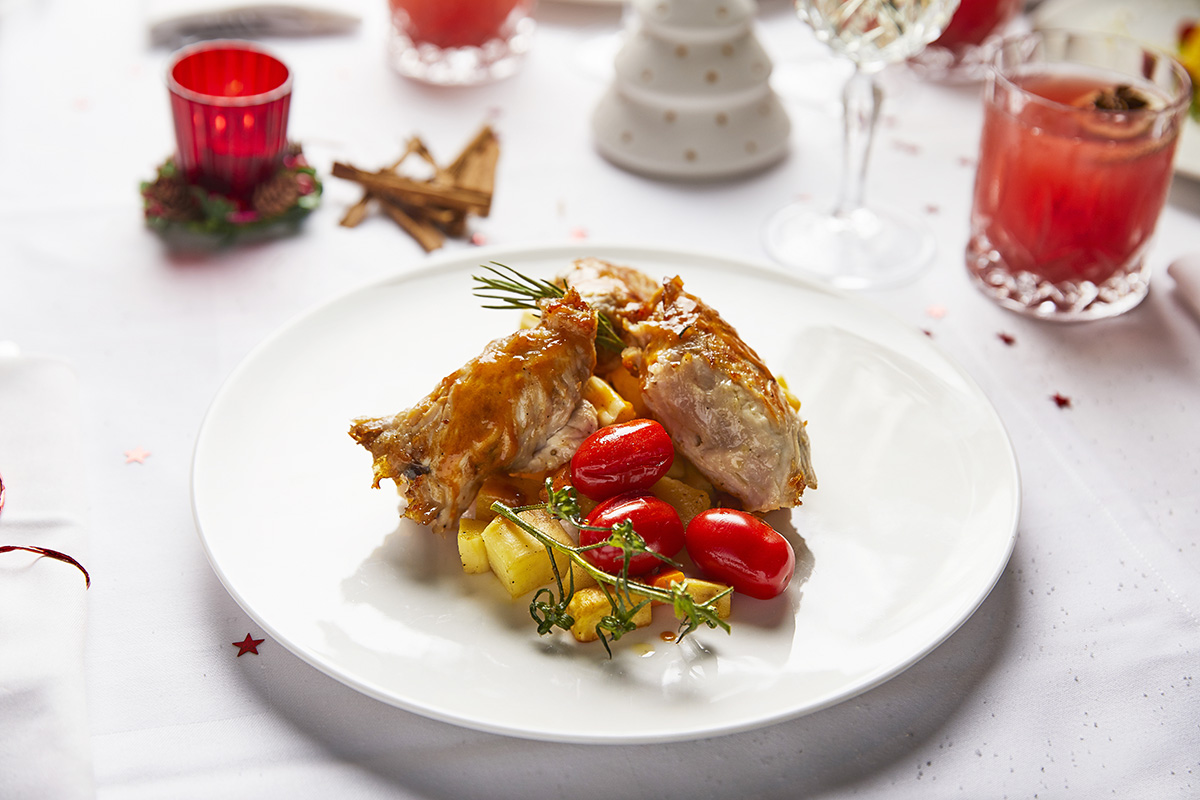 Christmas Special Menu: Turkey Meat filled with Parma Ham, Sausage, Smoked Mozzarella, served with Mixed Root Vegetables