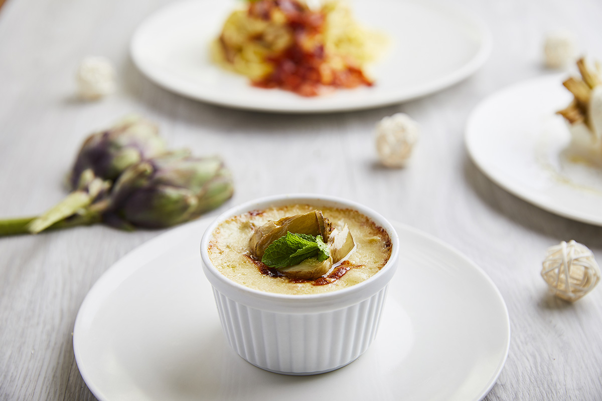 Potatoes Flan with Artichokes