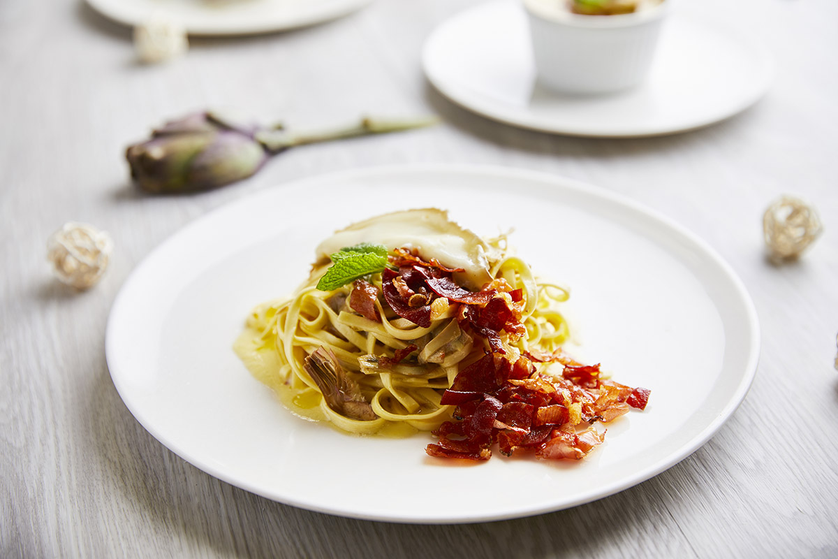 Tagliolini Egg Pasta with Artichokes and Speck dell'Alto Adige IGP