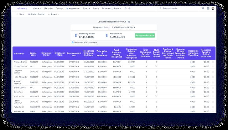 aXcelerate revenue recognition