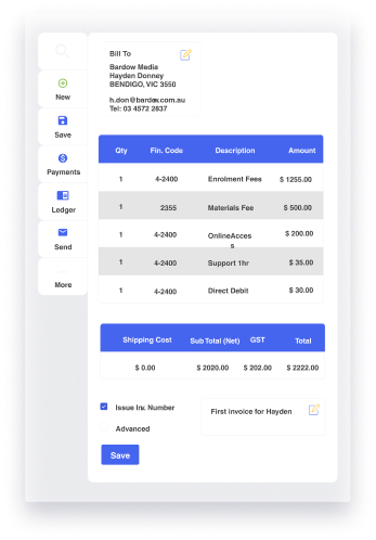 Finance management in aXcelerate