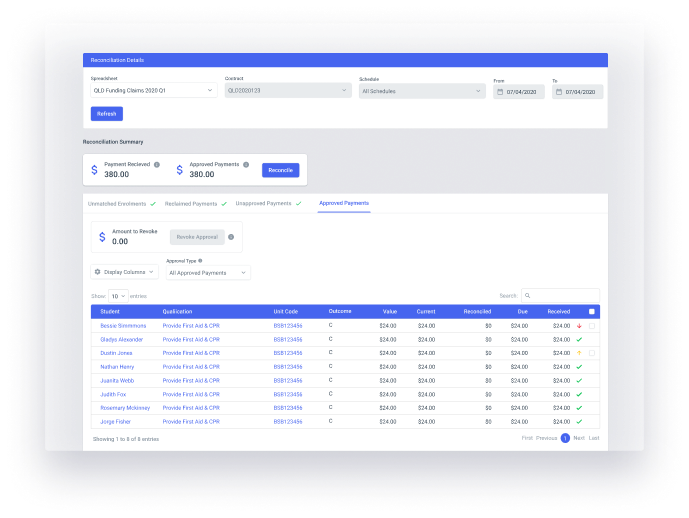 Rich finance reporting in aXcelerate
