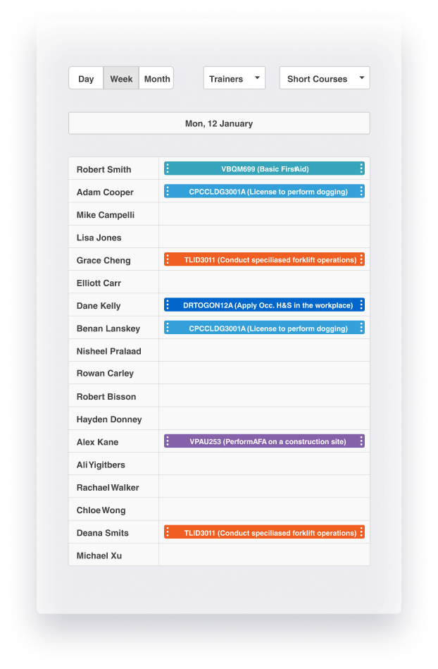 Create unique calendar views in aXcelerate