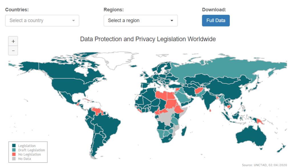 Mapeamento da Proteção e Privacidade de Dados no Mundo