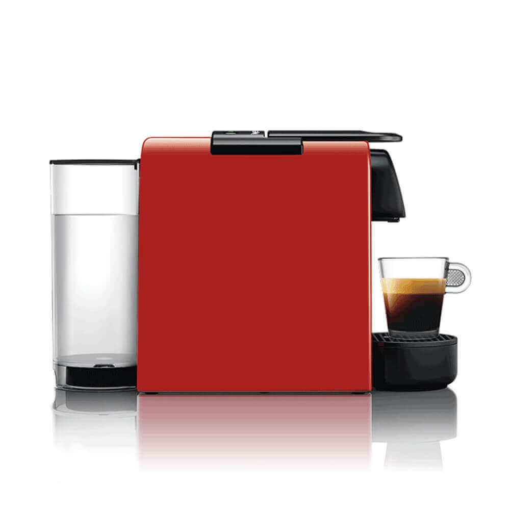 Кофемашина Delonghi Nespresso Essenza Mini красная вид сбоку