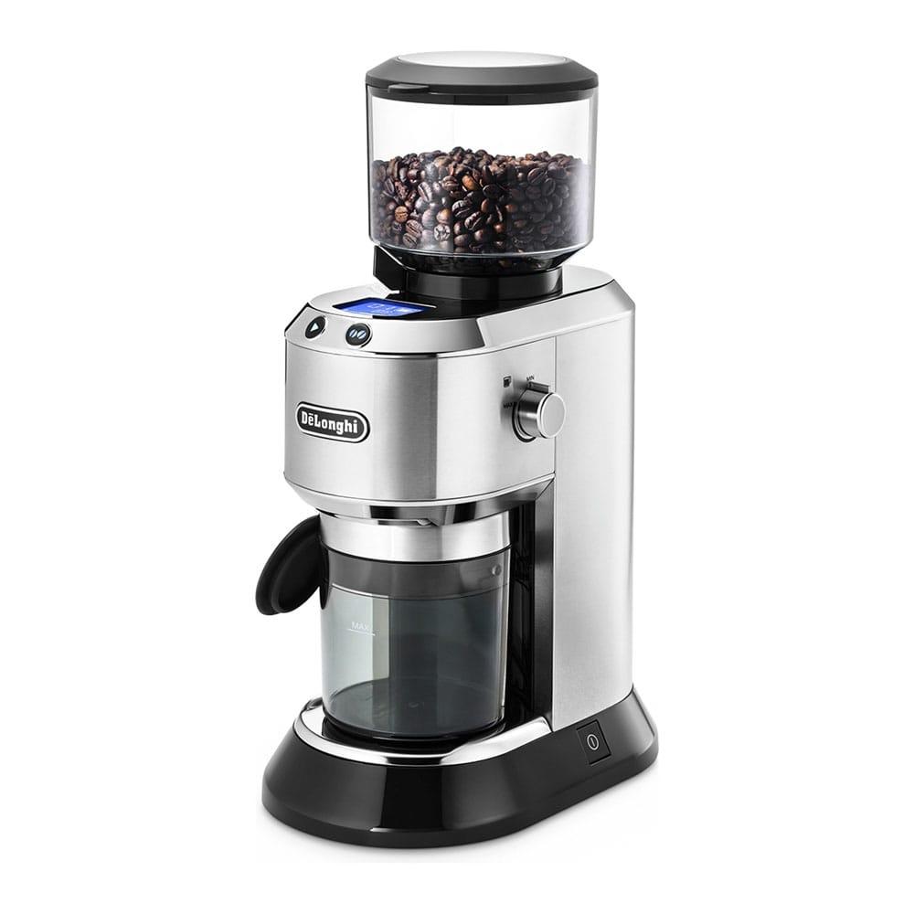 Фотография кофемолки Delonghi KG521.M с зерном в контейнере для помола