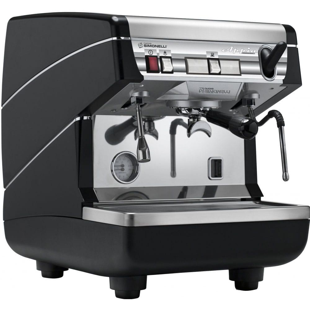 Фотография рожковой кофемашина Nuova Simonelli Appia II 1 Gr S с высокой группой вид спереди цвет черный