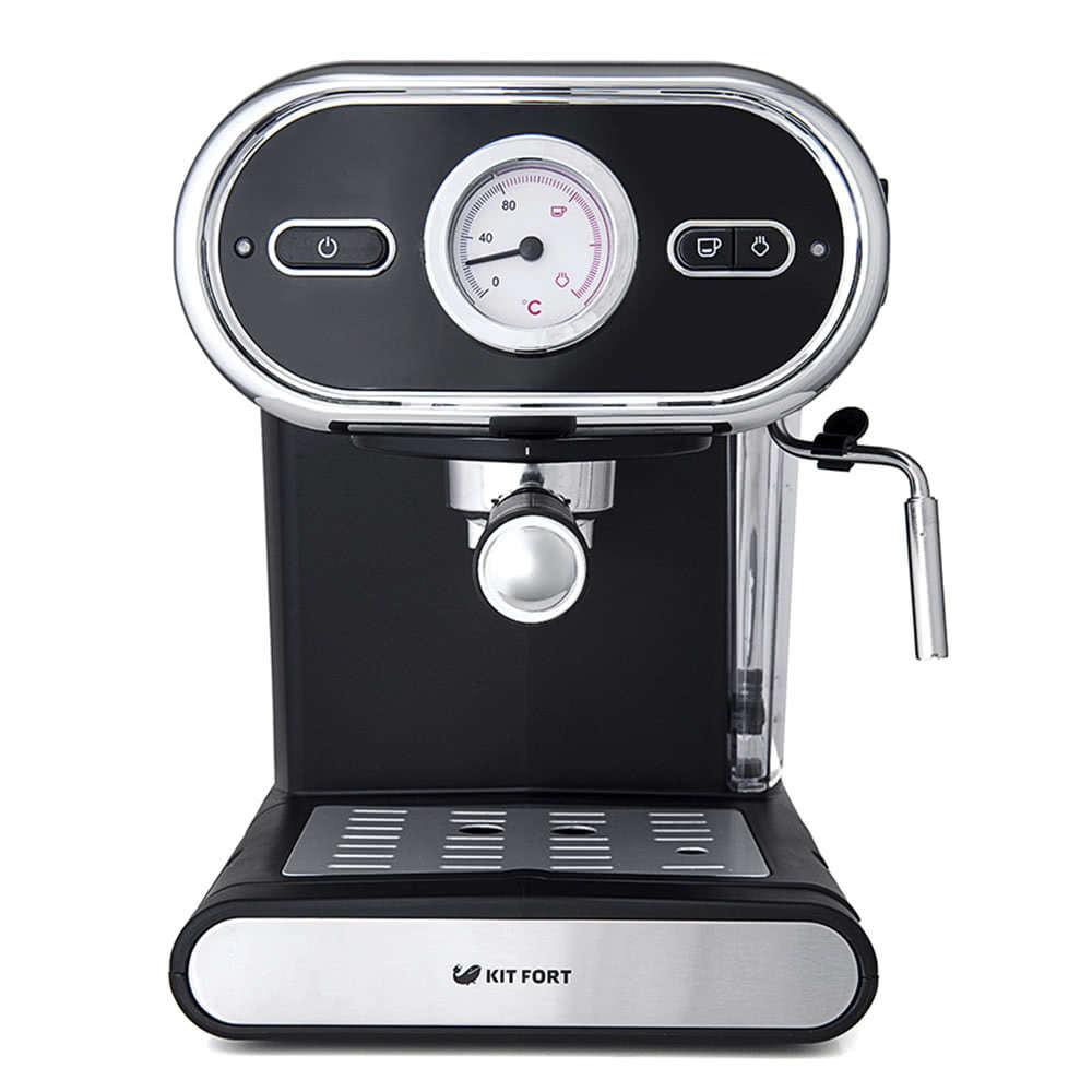 Кофеварка рожковая Kitfort КТ-702 цвет черный фото спереди
