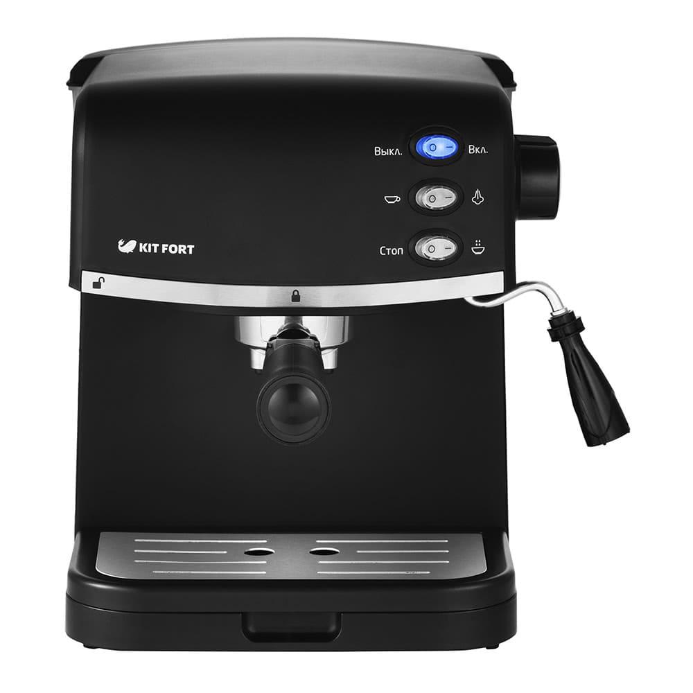 Кофеварка рожковая Kitfort КТ-718 цвет черный фото вид спереди