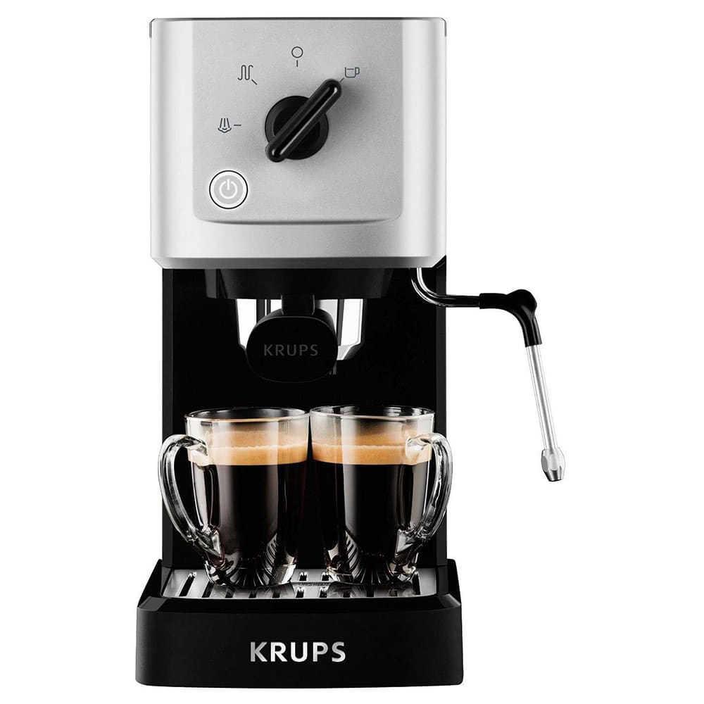 Кофеварка рожковая Krups Calvi Meca XP 3440 цвет черный фото вид спереди