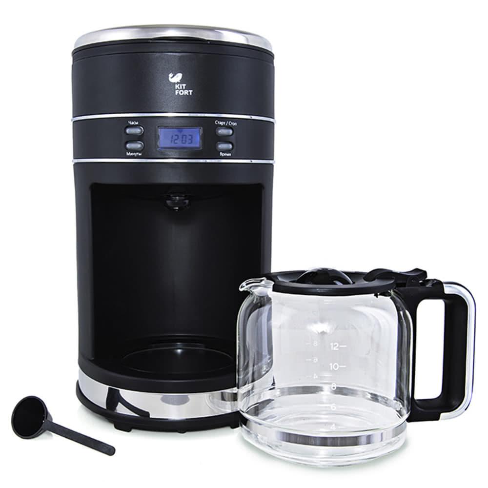 Кофеварка Kitfort KT-704.B цвет черный фото вид спереди