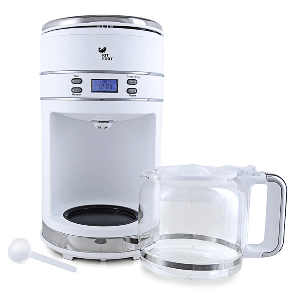 Кофеварка Kitfort KT-704.W цвет белый фото вид спереди