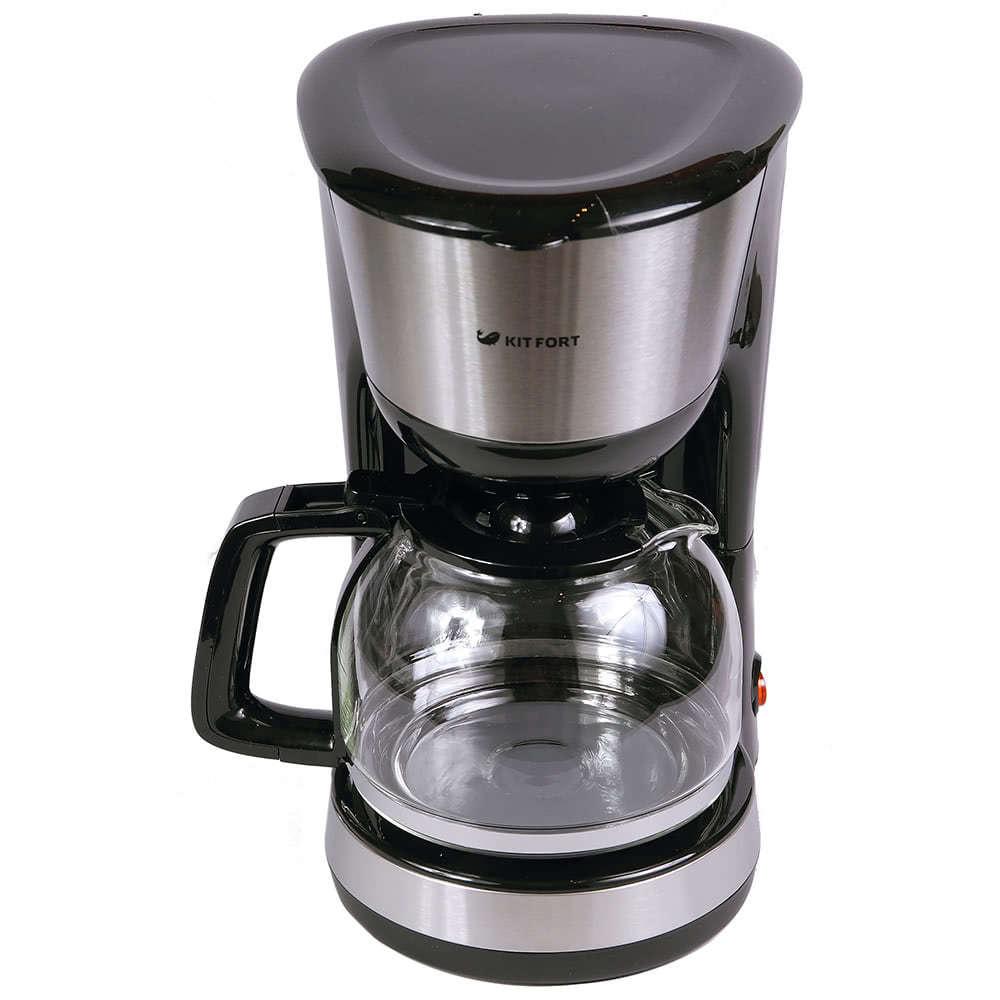 Кофеварка Kitfort KT-715 цвет черный фото вид спереди