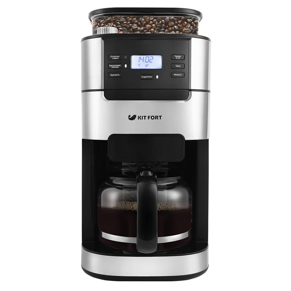 Кофеварка Kitfort KT-720 цвет черный фото вид спереди