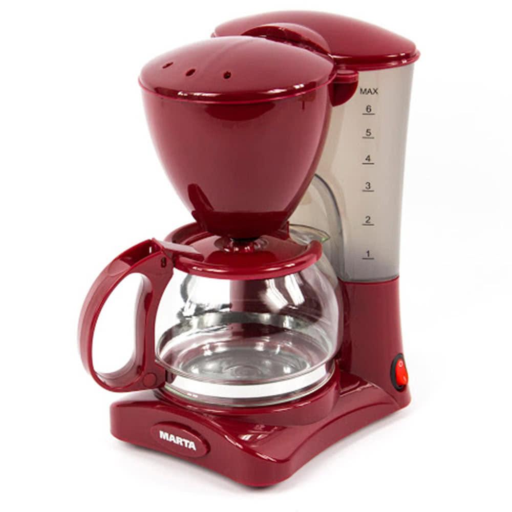 Кофеварка Marta MT-2115.B.G цвет бордовый гранат фото вид спереди