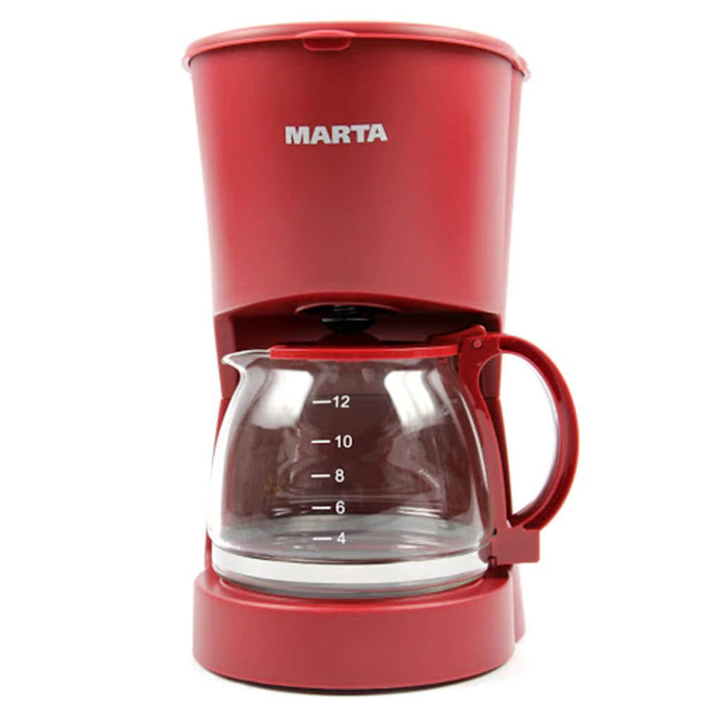 Кофеварка Marta MT-2118 цвет красный фото вид спереди