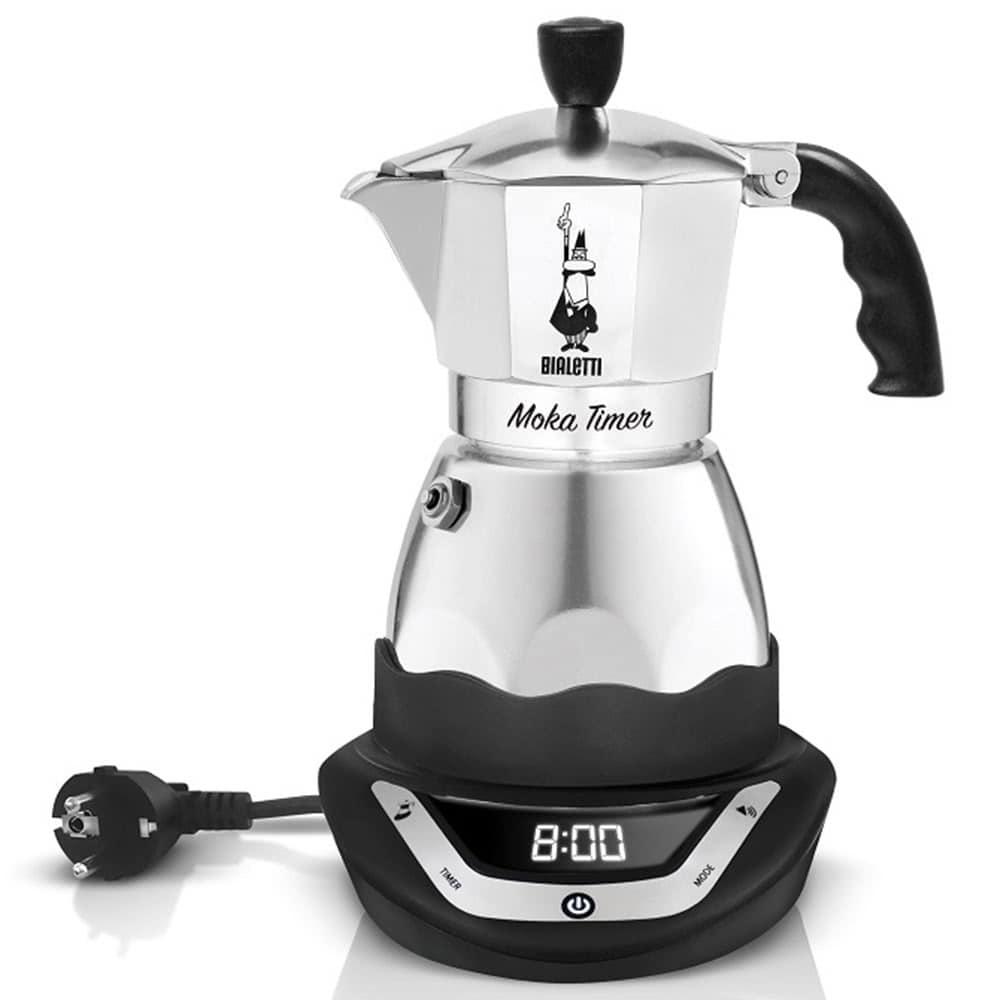 Кофеварка Bialetti Moka timer 3 цвет серебристый вид спереди
