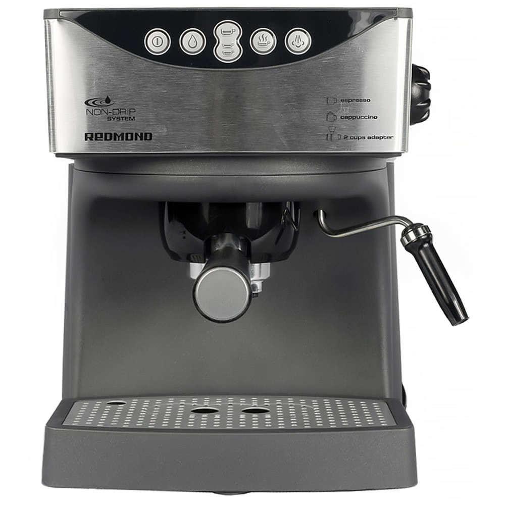 Кофеварка рожковая REDMOND RCM-1503 цвет серебристый фото вид спереди