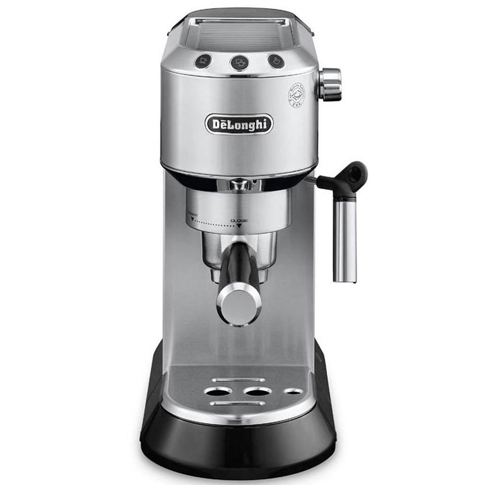 Кофеварка рожковая De'Longhi Dedica EC 680.S цвет серебристый фото вид спереди