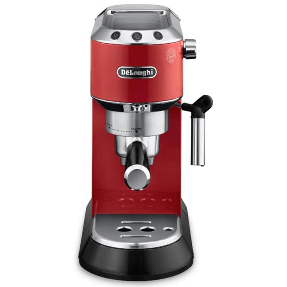 Кофеварка рожковая De'Longhi Dedica EC 680.R цвет красный фото вид спереди