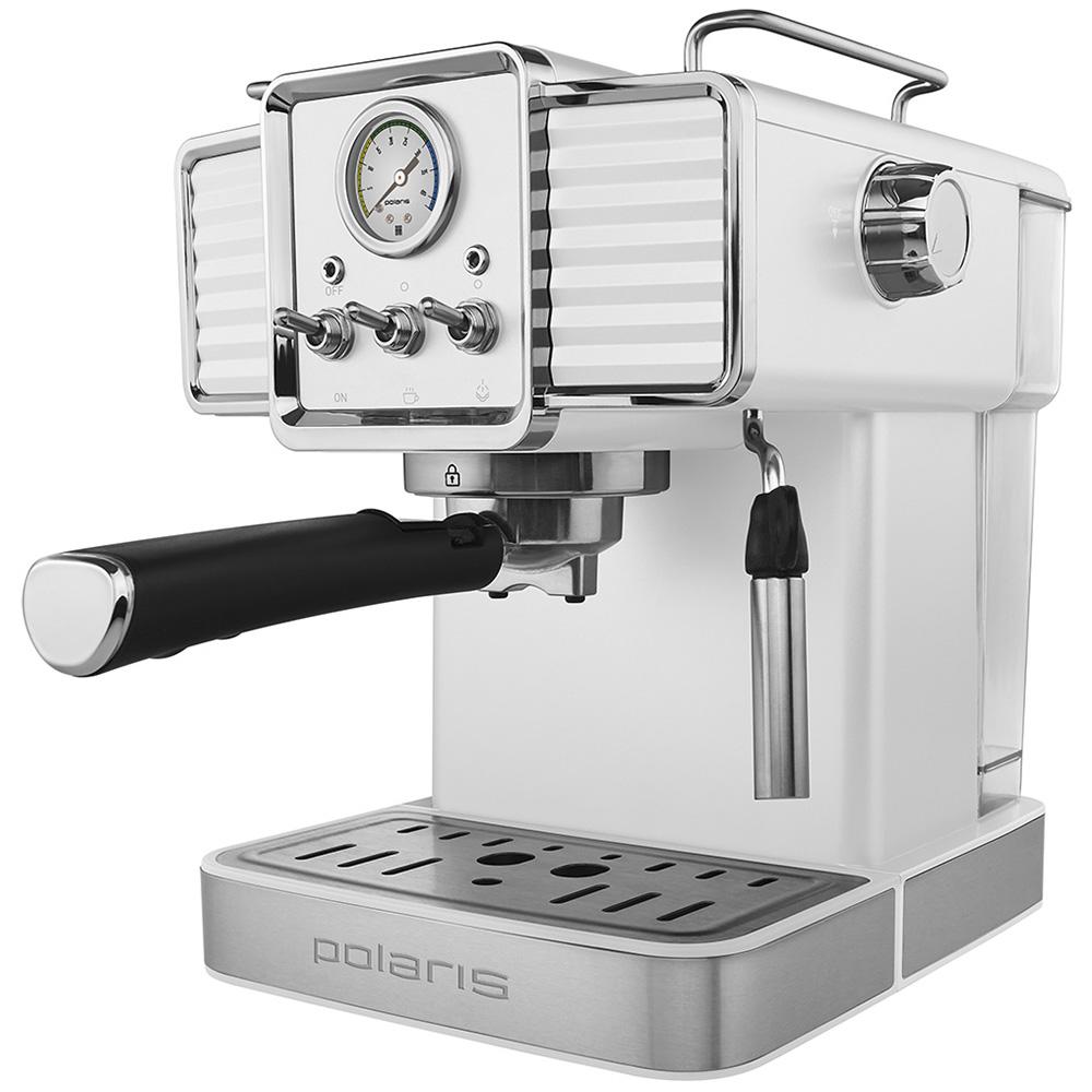 Кофеварка рожковая Polaris PCM 1538E Adore Crema W цвет белый фото вид сбоку