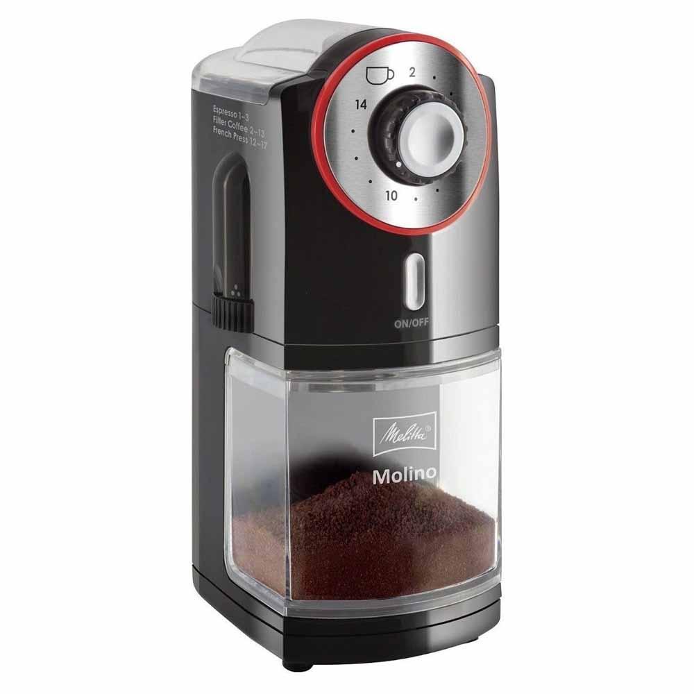 Кофемолка Melitta Molino черный красный фото вид сбоку