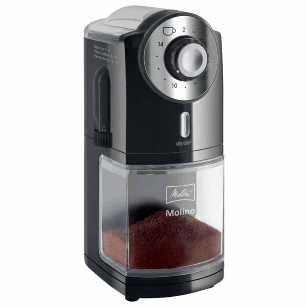 Кофемолка Melitta Molino черный серебристый фото вид спереди