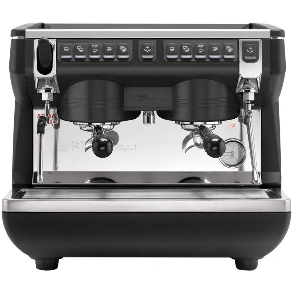 Кофемашина NUOVA SIMONELLI Appia Life Compact 2Gr V 220V black +economizer+high groups цвет черный фото вид спереди