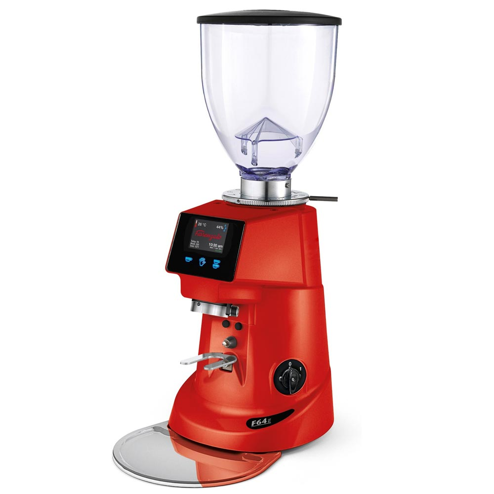 Кофемолка Fiorenzato F64 E красная фото вид сбоку