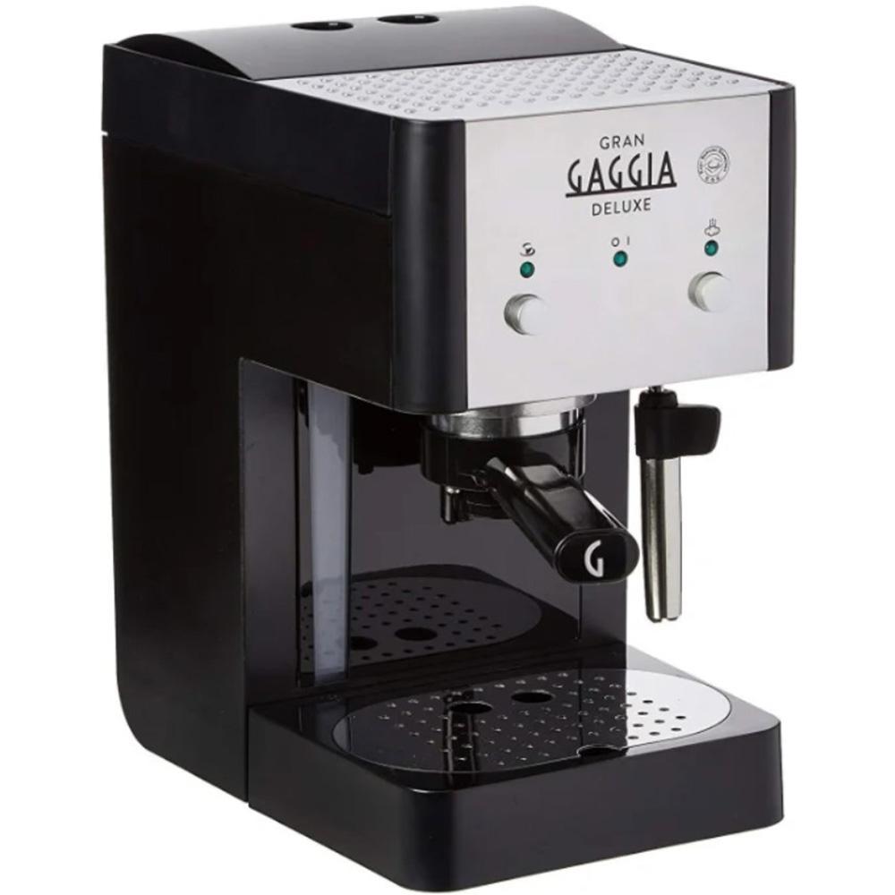 Фотография рожковой кофеварки Gaggia Gran De Luxe Black. Вид слева