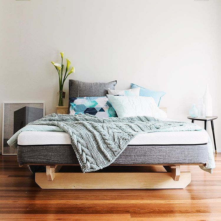 Bedroom staged with Ecosa mattress