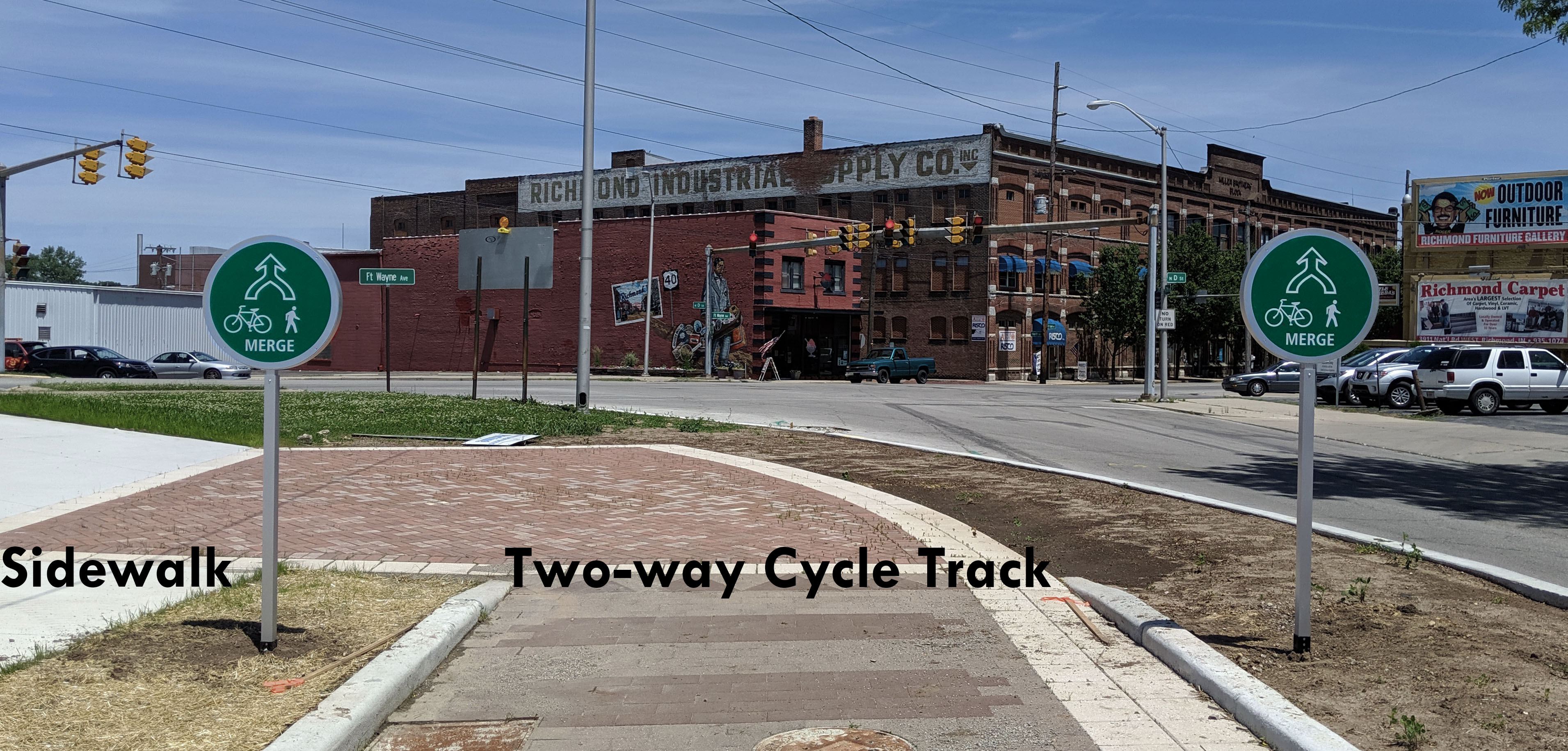 Sidewalk and Two-way cycle track signage