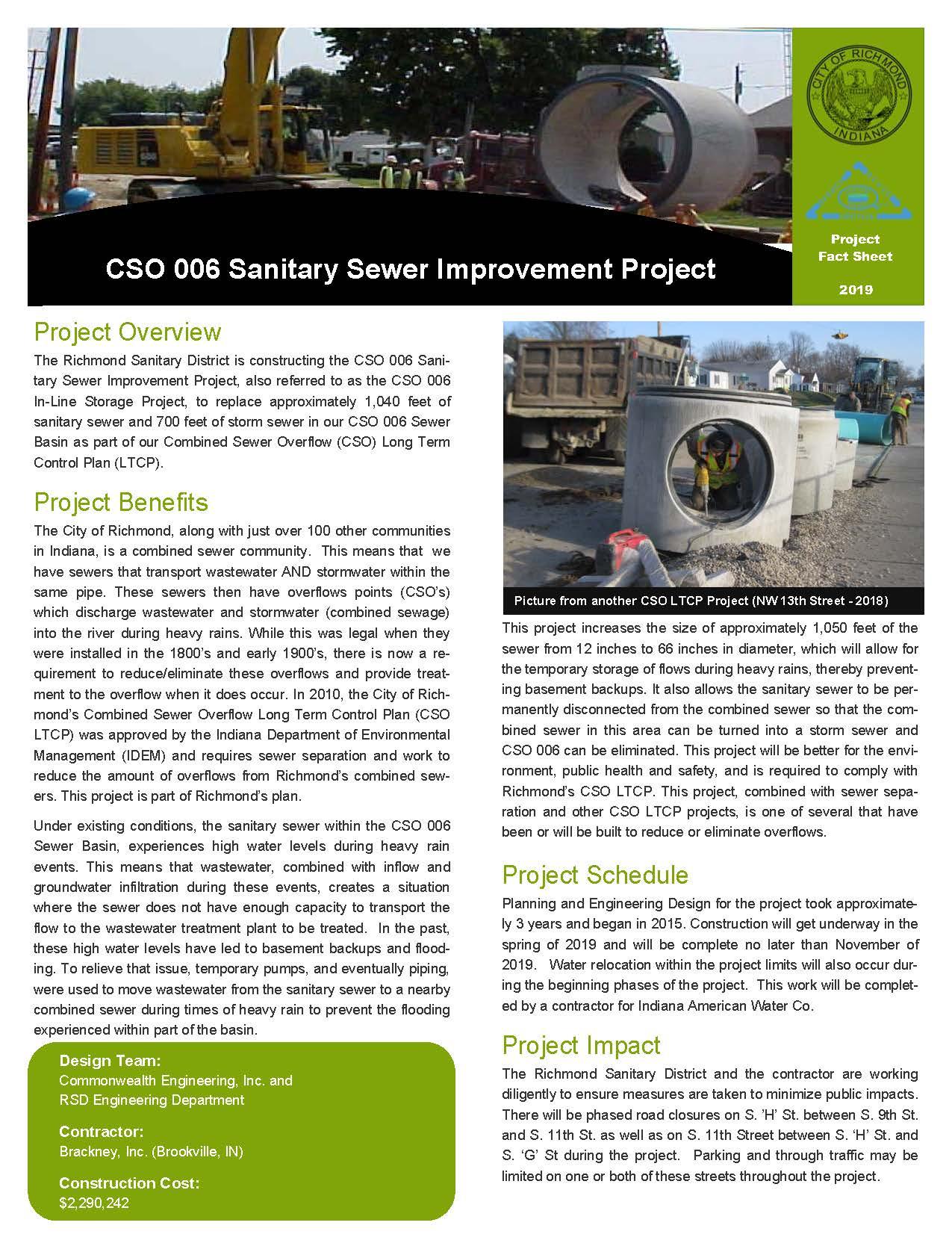 CSO 006 Sanitary Sewer Improvement Project Description