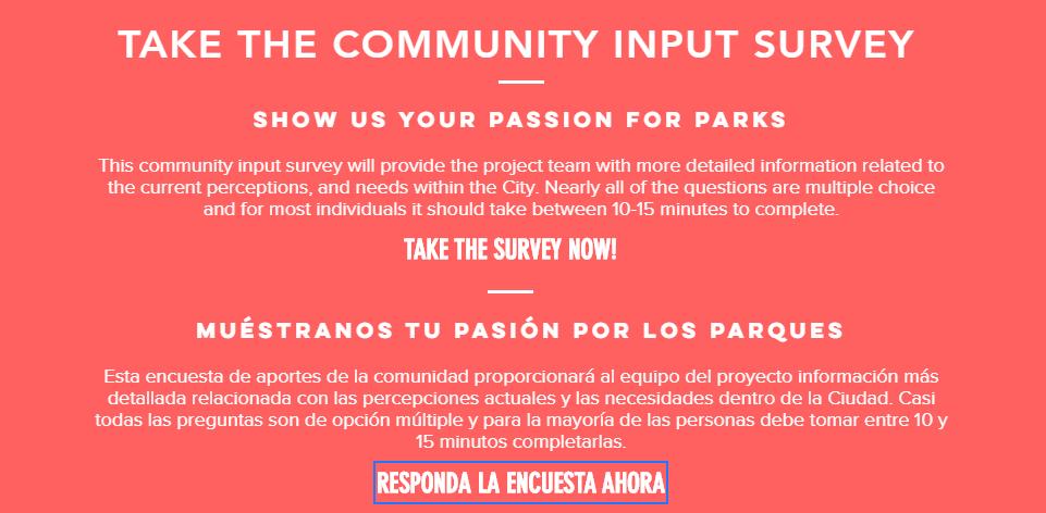 Parks Master Plan Survey Information
