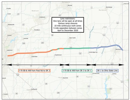 INDOT Construction: I-70 EB & WB from Post Road to Ohio State Line