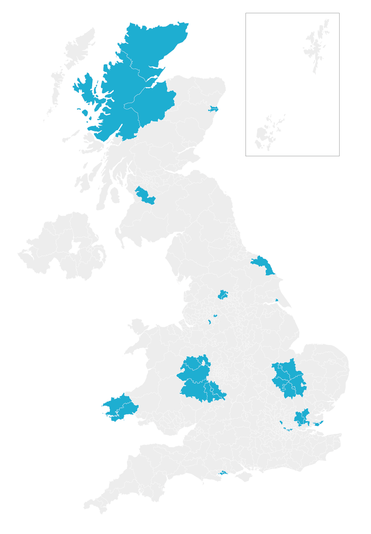 Map of the UK highlighting participating local authorities in the 2021 community