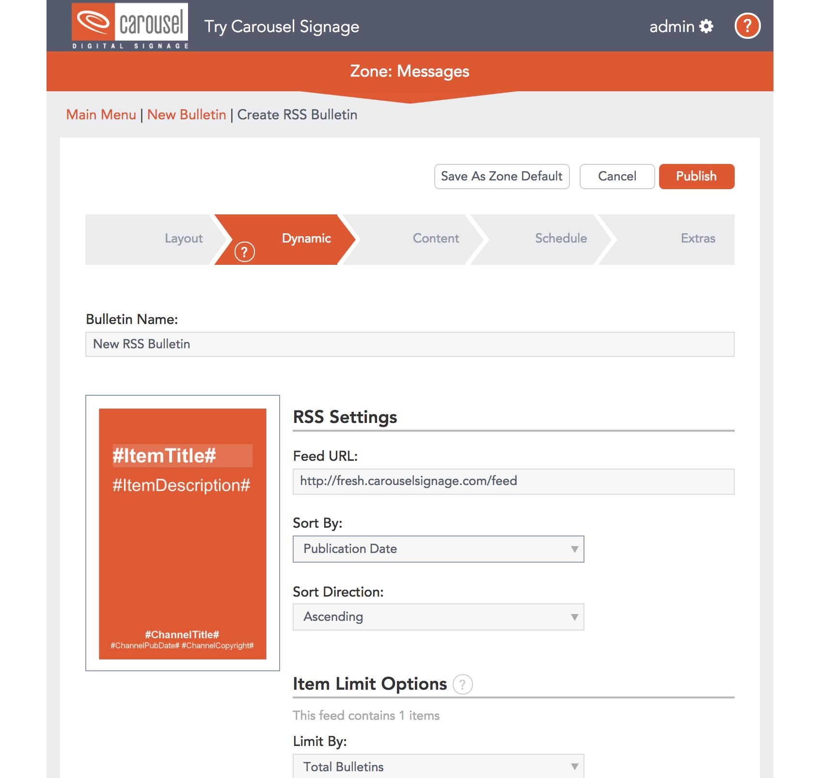 Carousel Digital Signage - Cloud API