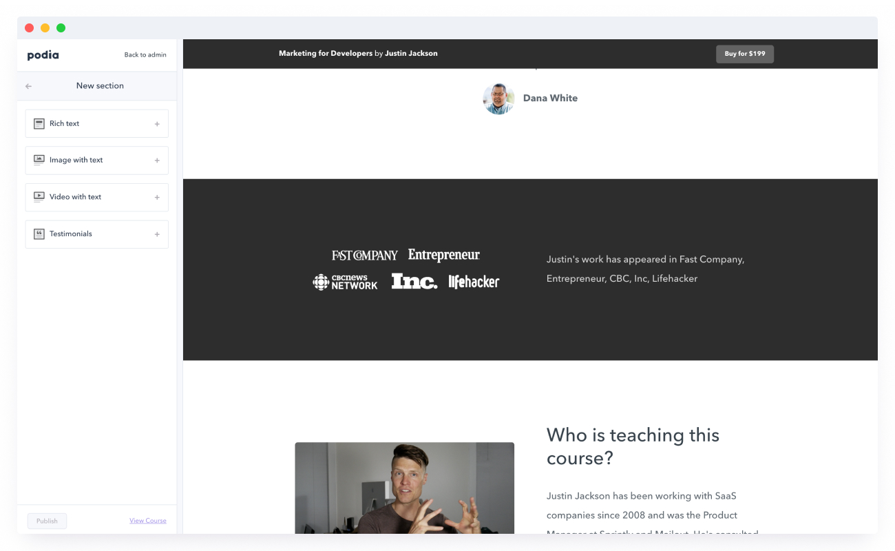 Platform for selling online courses