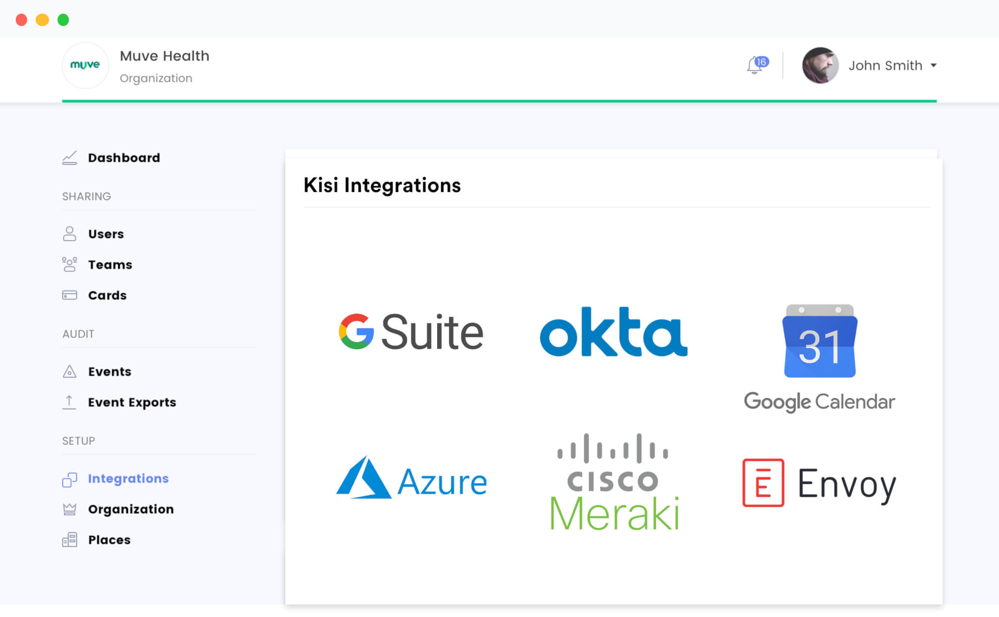 kisi integrations dashboard