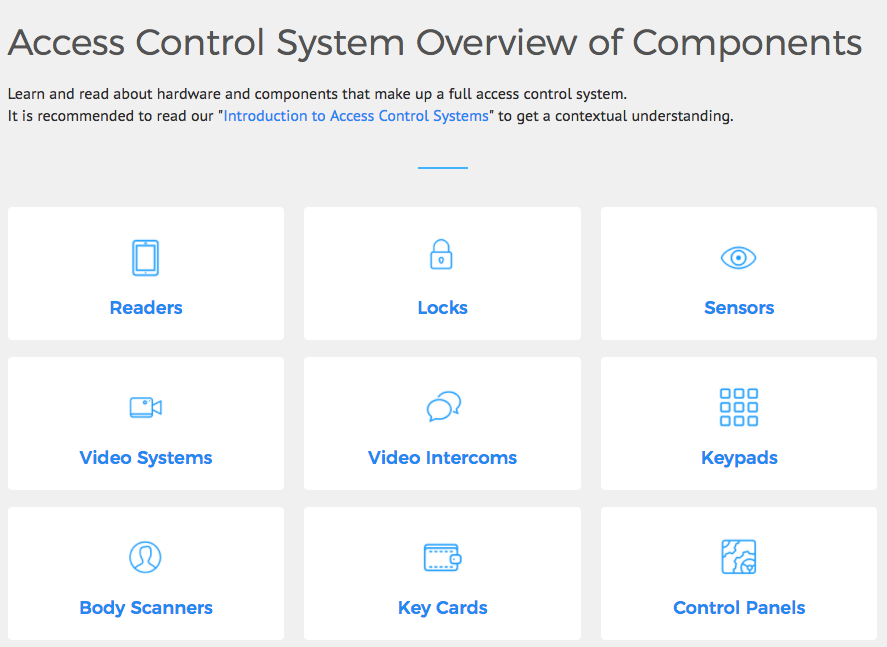 Physical Access Control System Components (PACS)