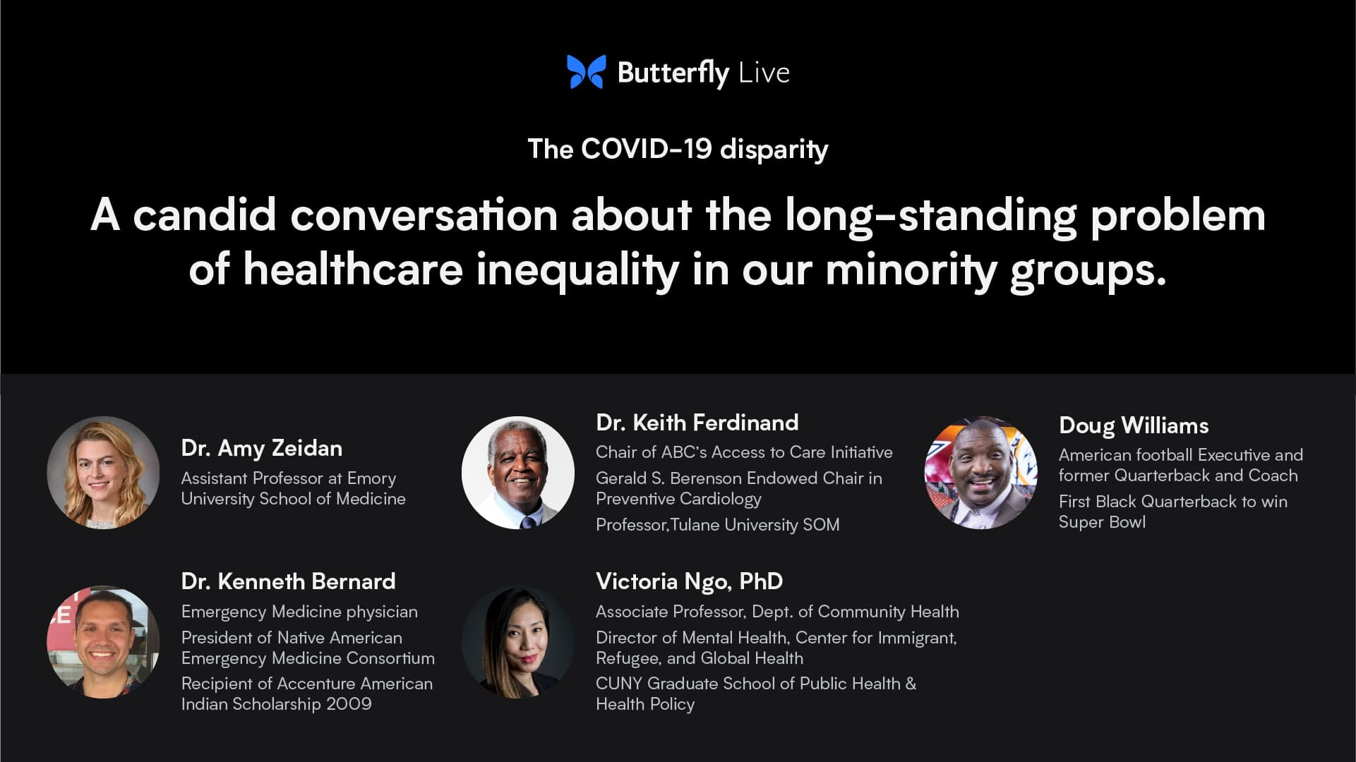 The COVID-19 Disparity: A Candid Conversation about the long-standing problem of healthcare inequality in our minority groups.