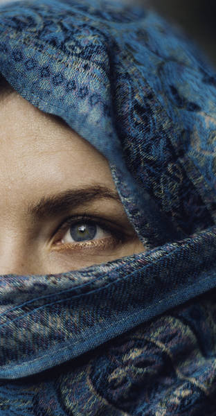 Close-Up Of Woman Wearing Scarf