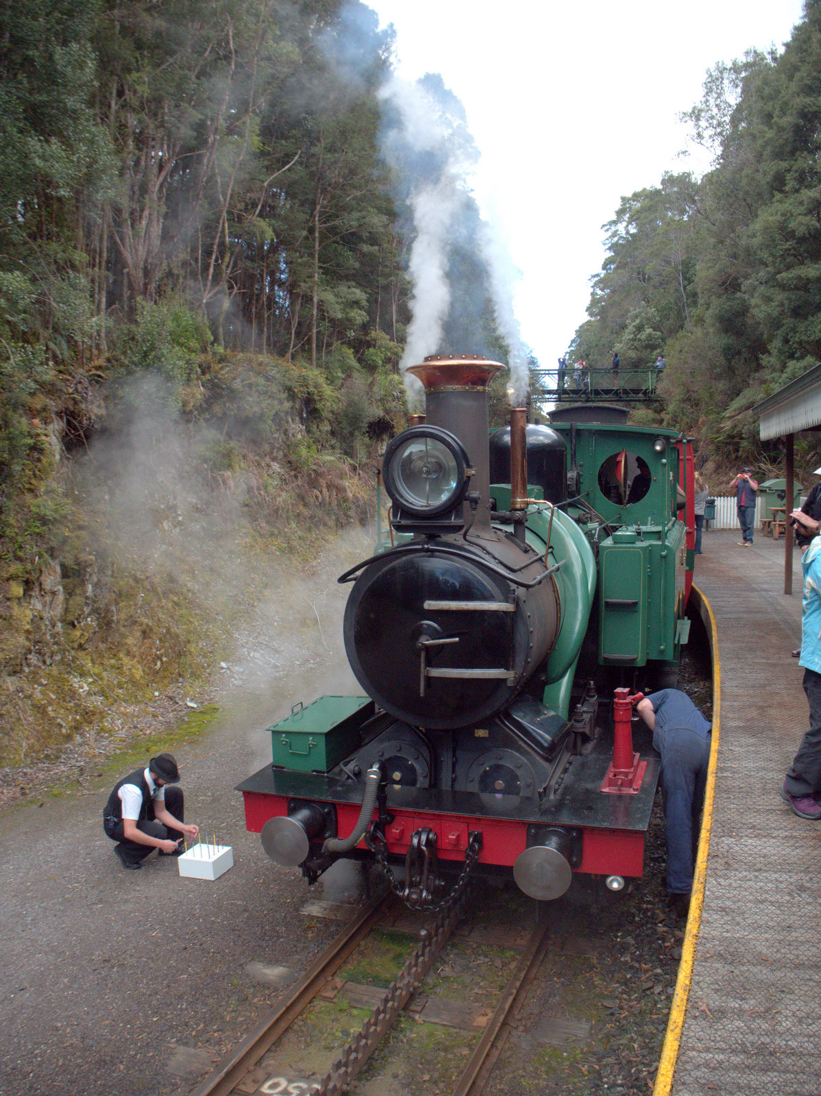 Steward Tom light's Loco No.1's 'birthday cake' candles at Rinadeena Station