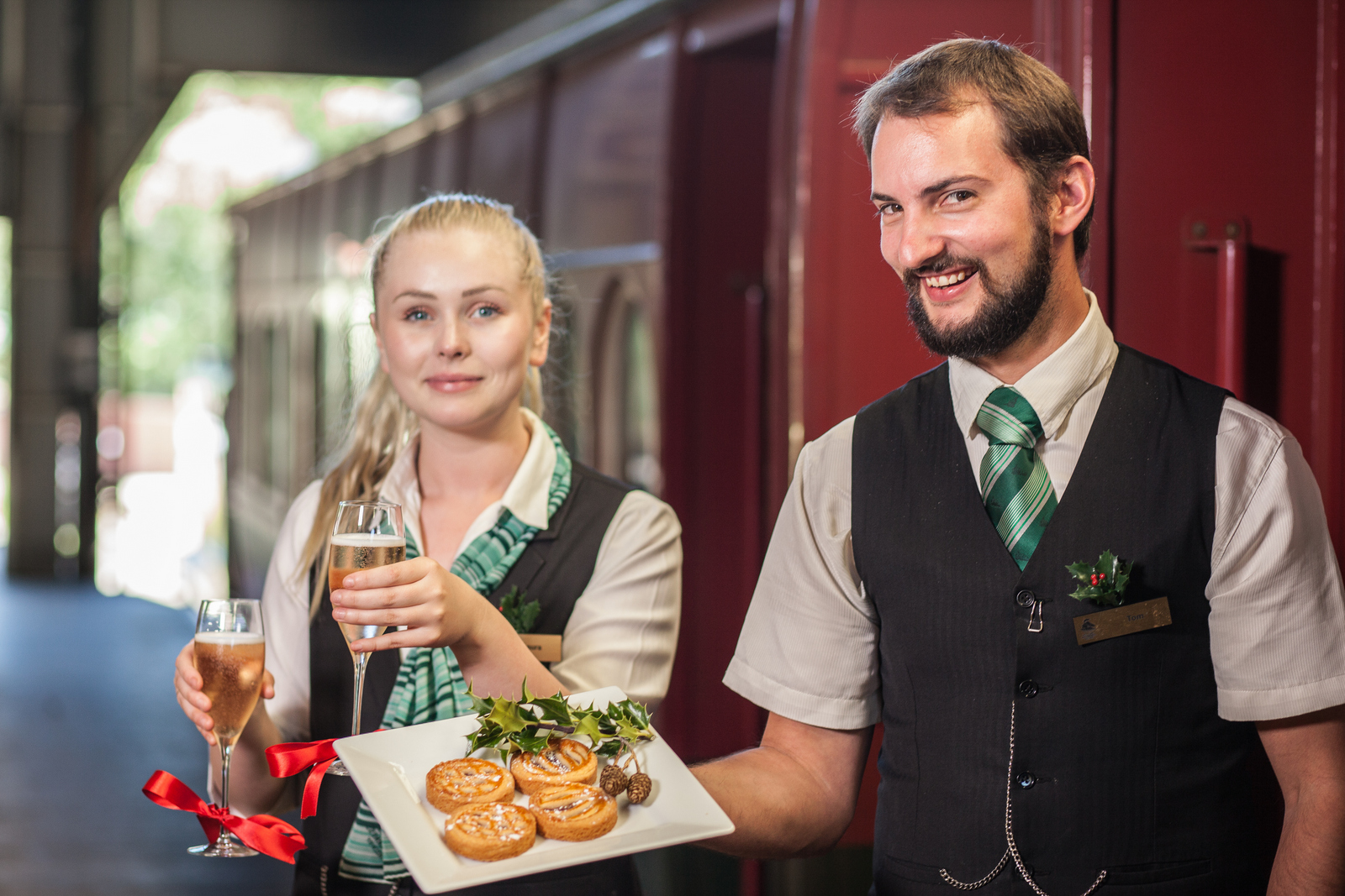 You'll be welcomed aboard with sparkling wine or mulled wine and festive treats