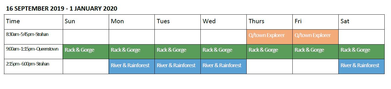 West Coast Wilderness Railway Spring Timetable Tour Schedule Calendar