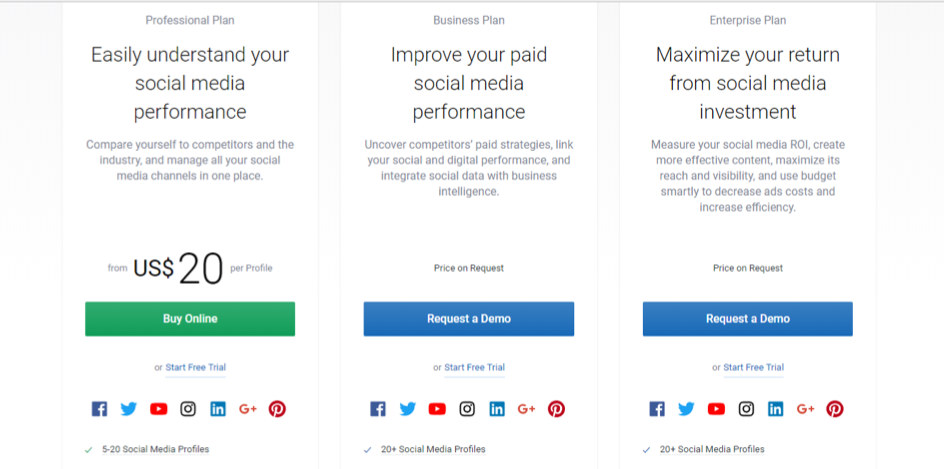 socialbakers pricing