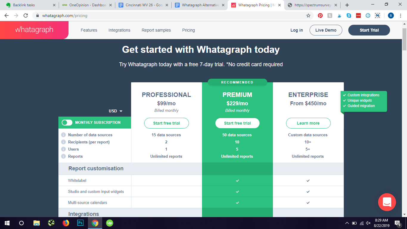 Whatagraph pricing