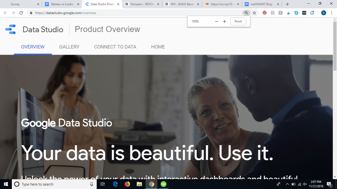 Screenshot from Google Data Studio page