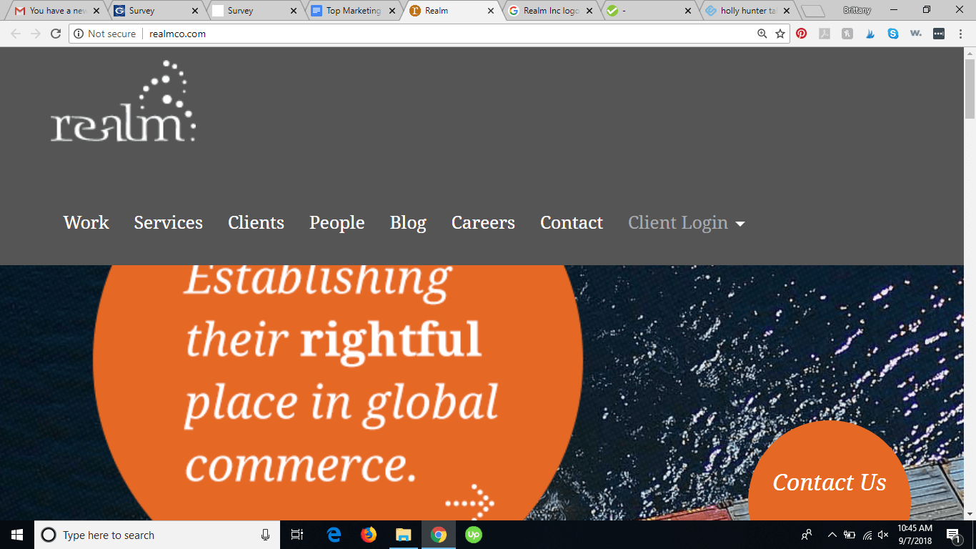 Screenshot from Realm Inc. homepage